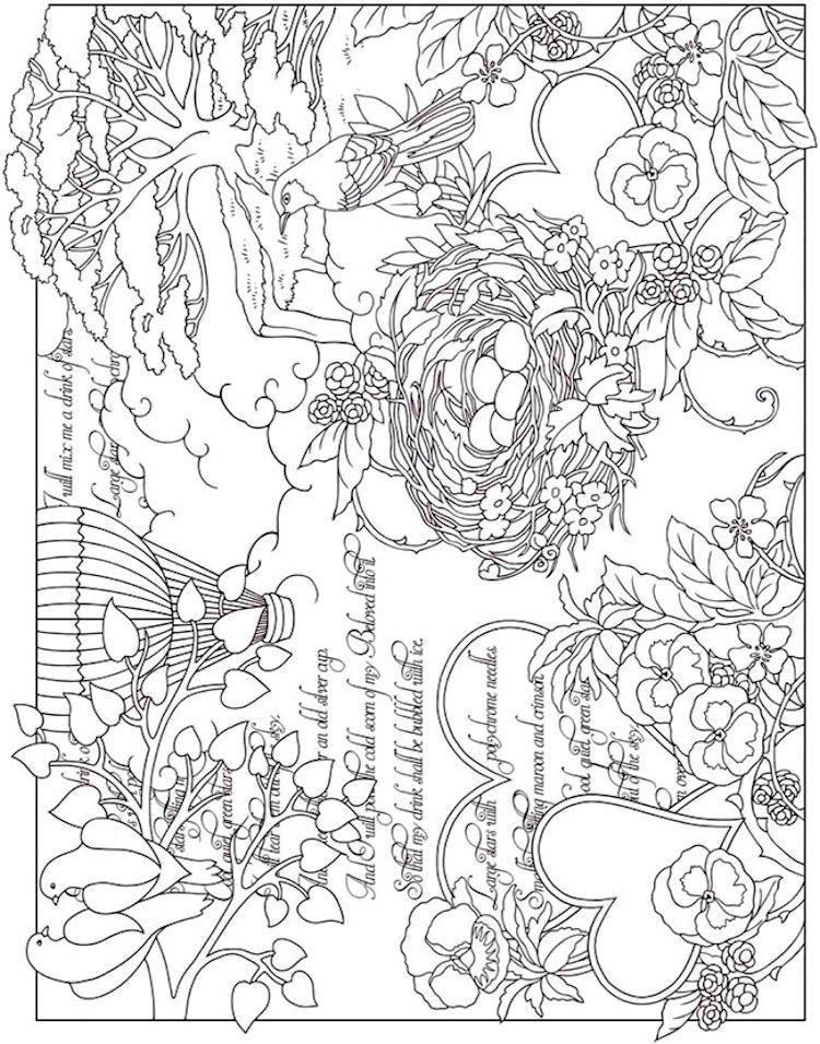 Dover ESCAPES Collage Art Coloring Page 3 Adult Coloring Pages