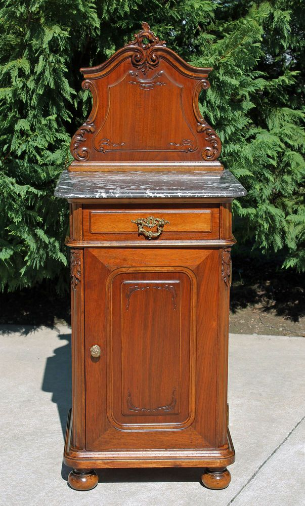 Exceptional French Victorian Black Marble Top Walnut