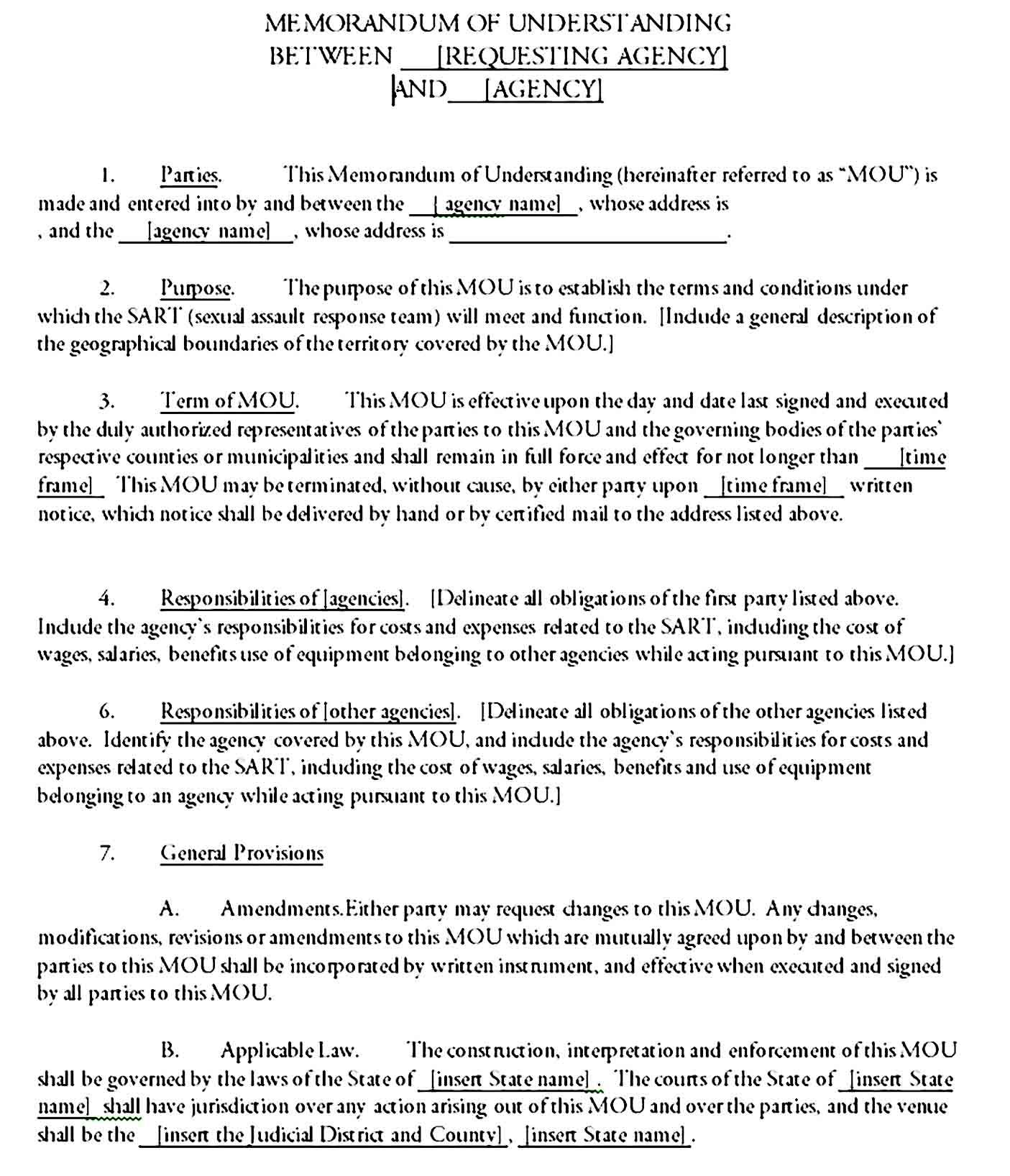 Memorandum Of Understanding Template Printable In 2020 Memorandum Understanding Template Printable