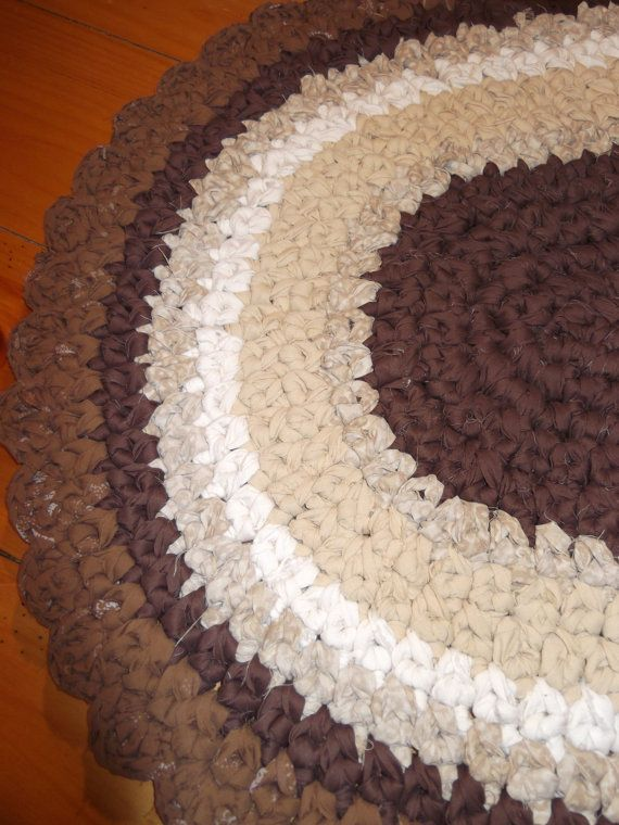 New Shades Of Brown Scalloped Rag Rug 3 Foot Oval