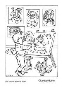 Kleurplaten Alfabetische Volgorde.Kleurplaat Thema Kunst 1 Kleuteridee Nl Thema Kunst Voor