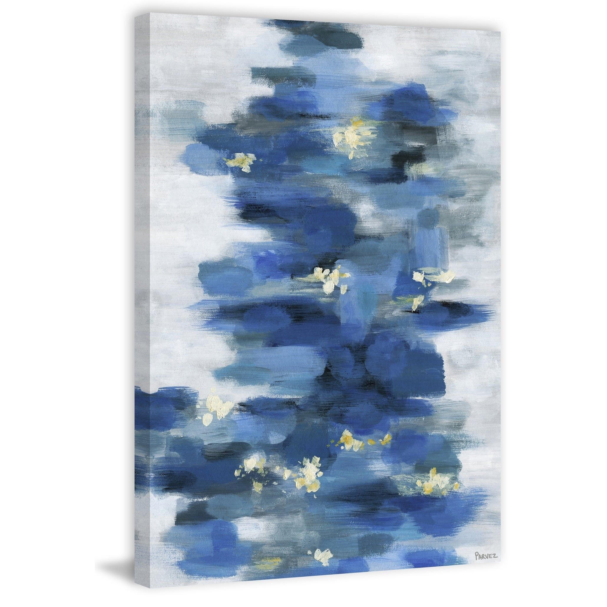 Blurry Blue Flowers Painting Print On Wrapped Canvas In 2020 Blue Flower Painting Canvas Painting Painting Prints