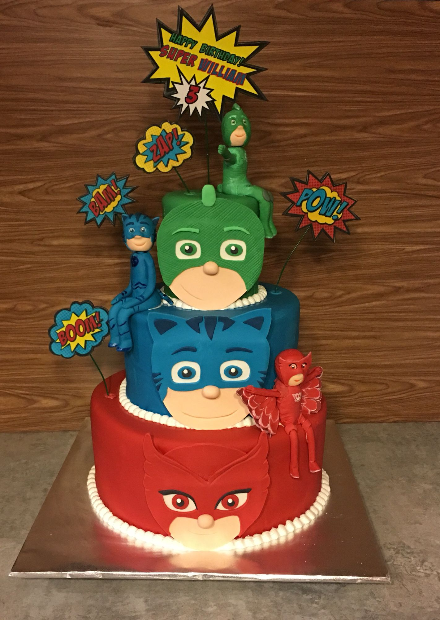 pj masks cake   5th birthday cake, twin birthday