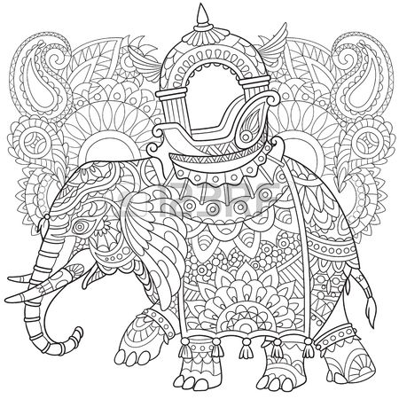 Cartoon Elephant With Paisley And Mehndi Symbols Sketch For Adult