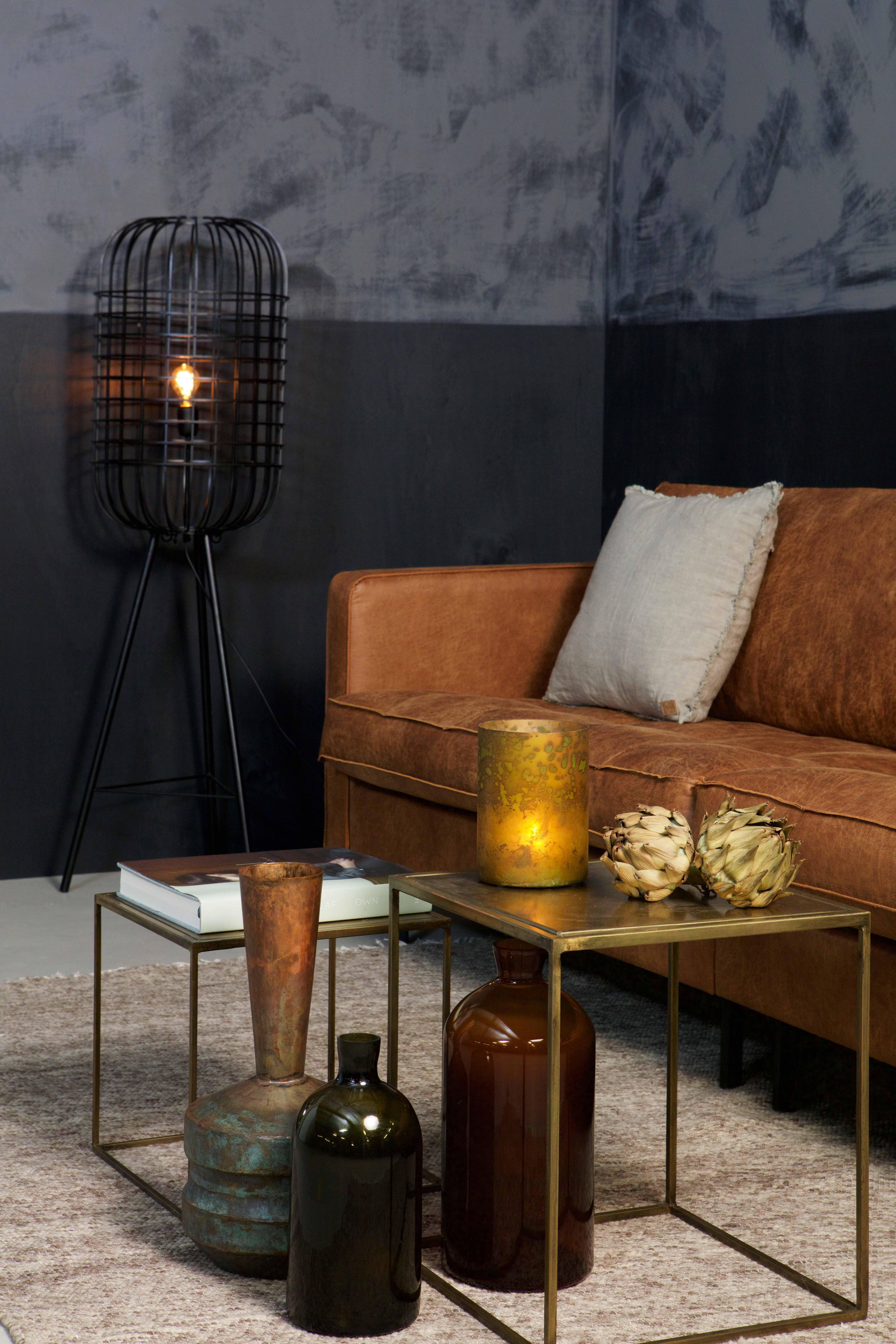 The rodeo classic leather sofa in cognac with the metallic brass the rodeo classic leather sofa in cognac with the metallic brass sidetables the hurricane floor lamp and our fields rug by bepurehome mozeypictures Image collections