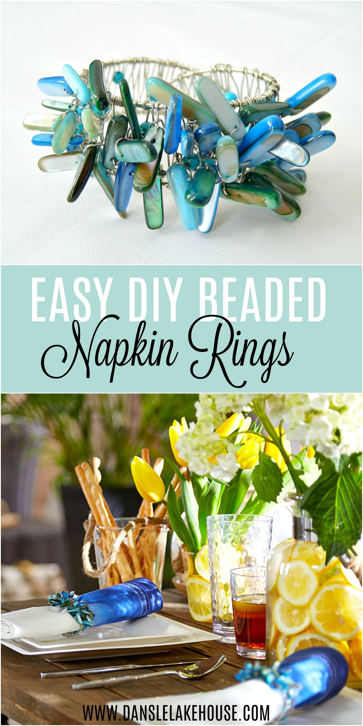 DIY Beaded Napkin Ring - Easy Tutorial + Video #napkinrings