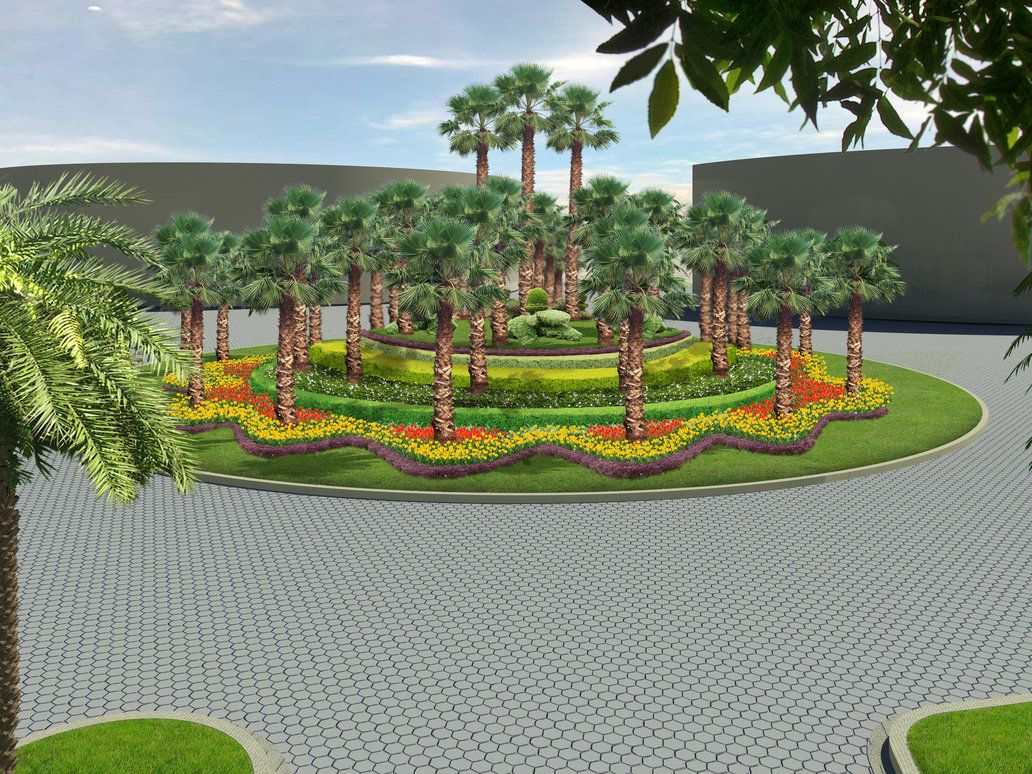 Roundabout landscaping like the tiered effect modify for for Entrance landscape design