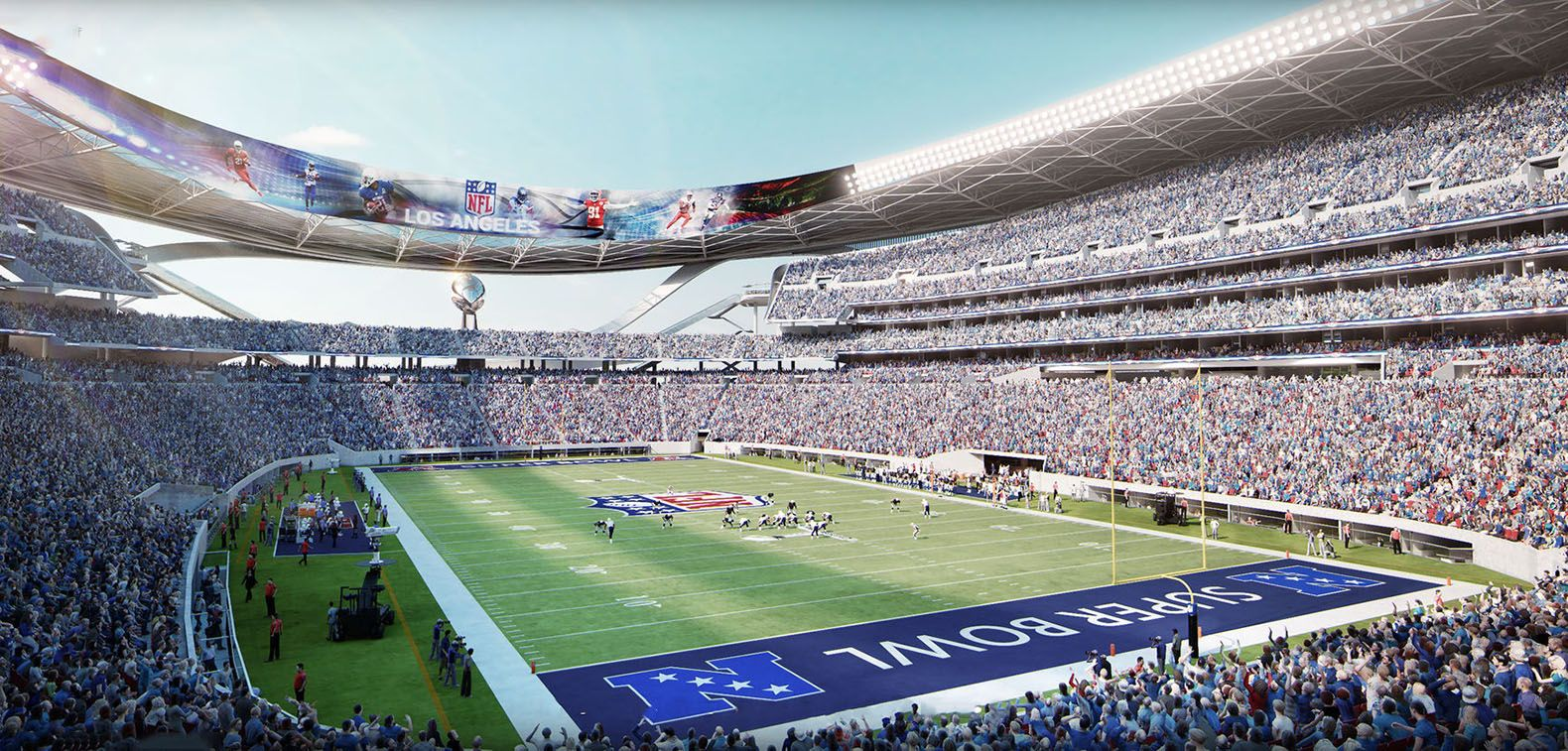 New Chargers And Raiders Stadium Design Features A Farmers Market And Electric Car Charging Stations Stadium Design Stadium Electric Vehicle Charging Station