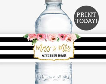 kate bridal shower water bottle labels spade inspired bridal shower water labels diy water label template personalized water bottle label