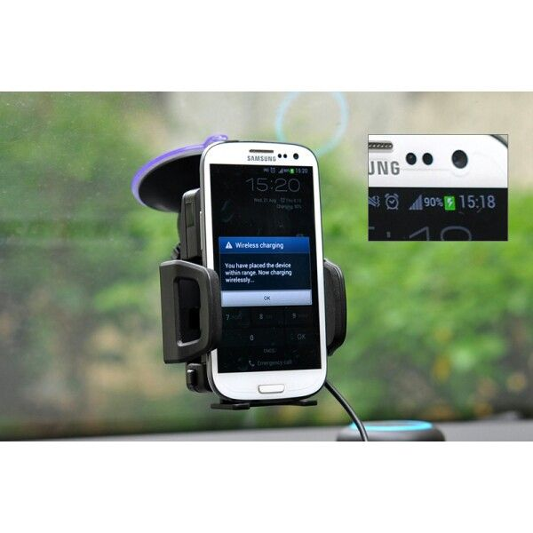 Car Mounted Wireless Qi Charger for Qi Standard Compatible Phones is a great way to charge why wirelessly as you cruise the open roads