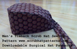 This is a DOWNLOADABLE men's tieback style surgical scrub hat sewing pattern. This pattern is NOT mailed to you through the mail but you will receive a link in an email so watch for that email either in your junk or regular folder. You will click