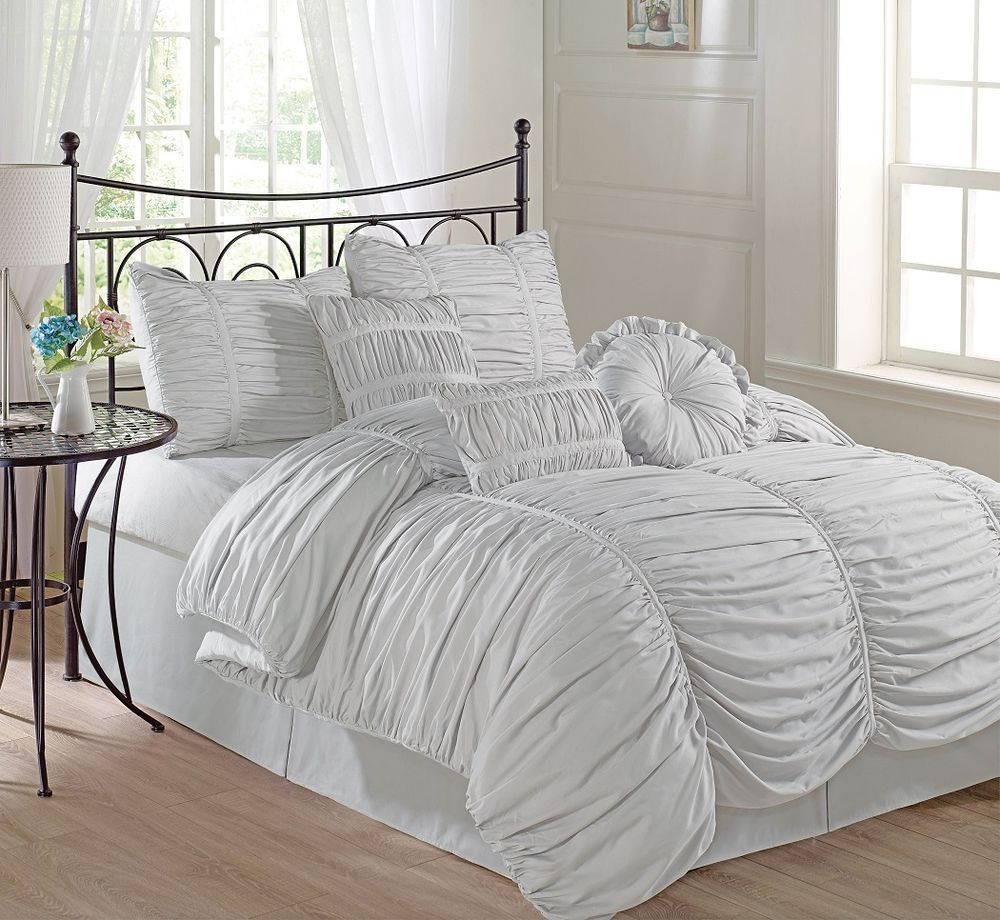 pinch bedclothes bedding white filling home size pleat item set brief sheet no sets duvet in queen cover ruched princess grey from