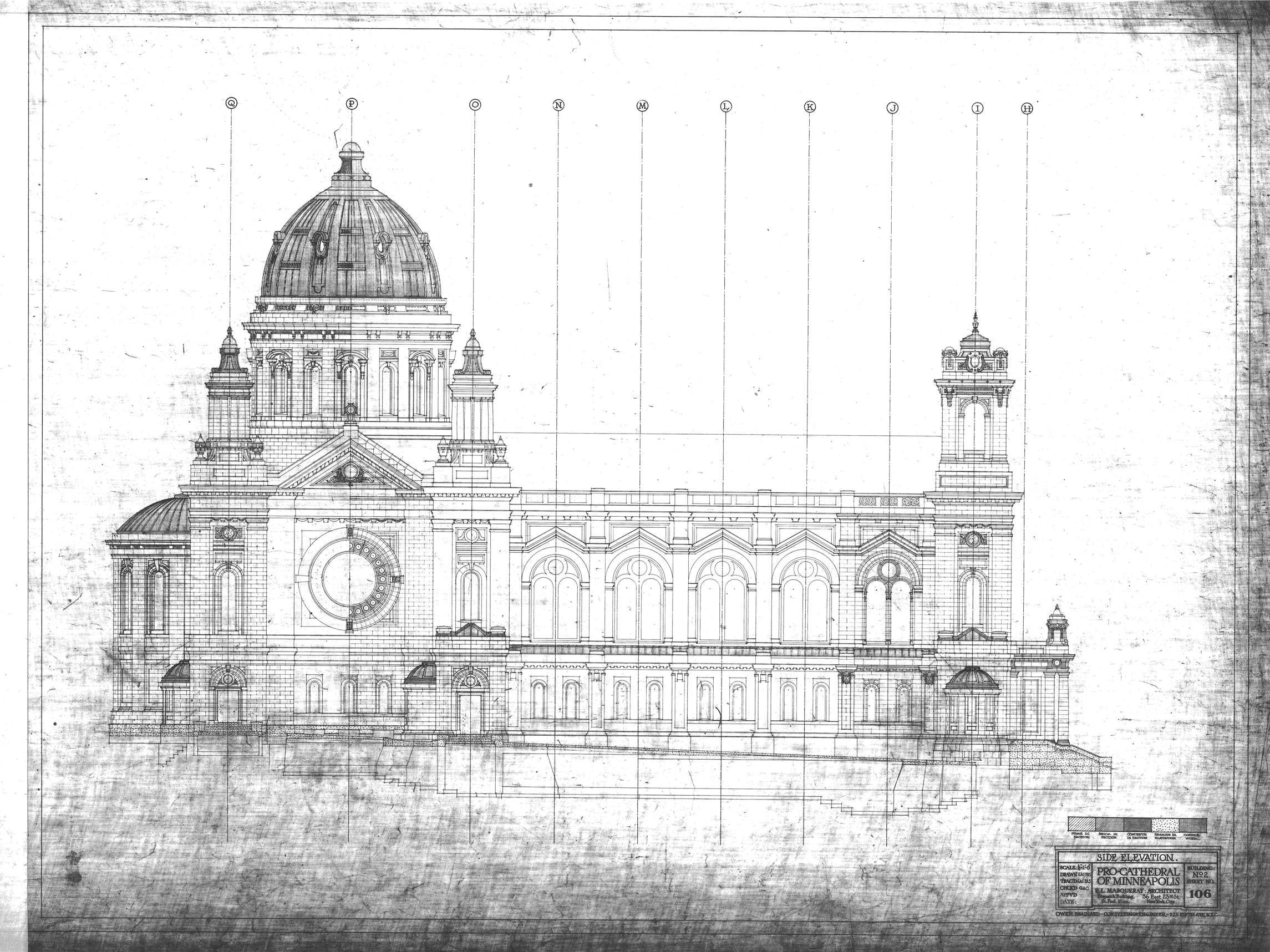 Vintage blueprint side elevation basilica of saint mary church pro vintage blueprint side elevation basilica of saint mary church pro cathedral of minneapolis e masqueray architect building no 2 sheet no malvernweather Gallery