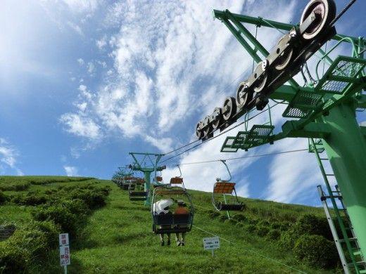 春の行楽シーズンに静岡県伊東市の大室山で空中散歩