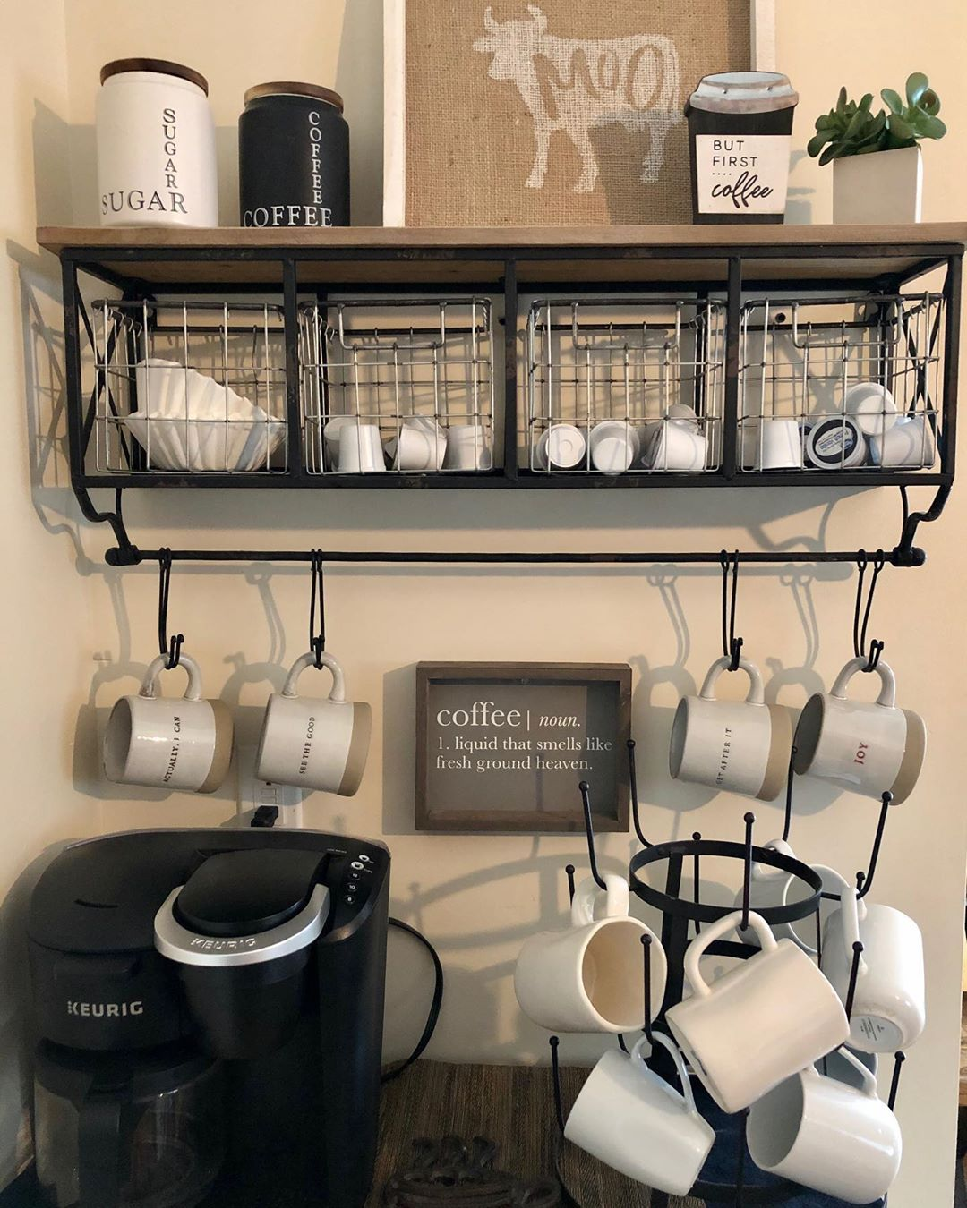 """Jennifer on Instagram: """"Here's a close up of our coffee bar details.. . . . . #suttonhomeandco #homedecor #coffeebar #coffee #thursdaymotivation #mugs…"""""""