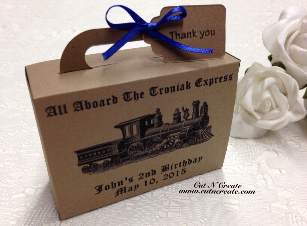 Train Birthday Favor Suitcase Favor Box Kids Birthday Party Favors 1st Birthday Boy Train Birthday Decorations by CutNCreateCanada on Etsy https://www.etsy.com/listing/226721733/train-birthday-favor-suitcase-favor-box