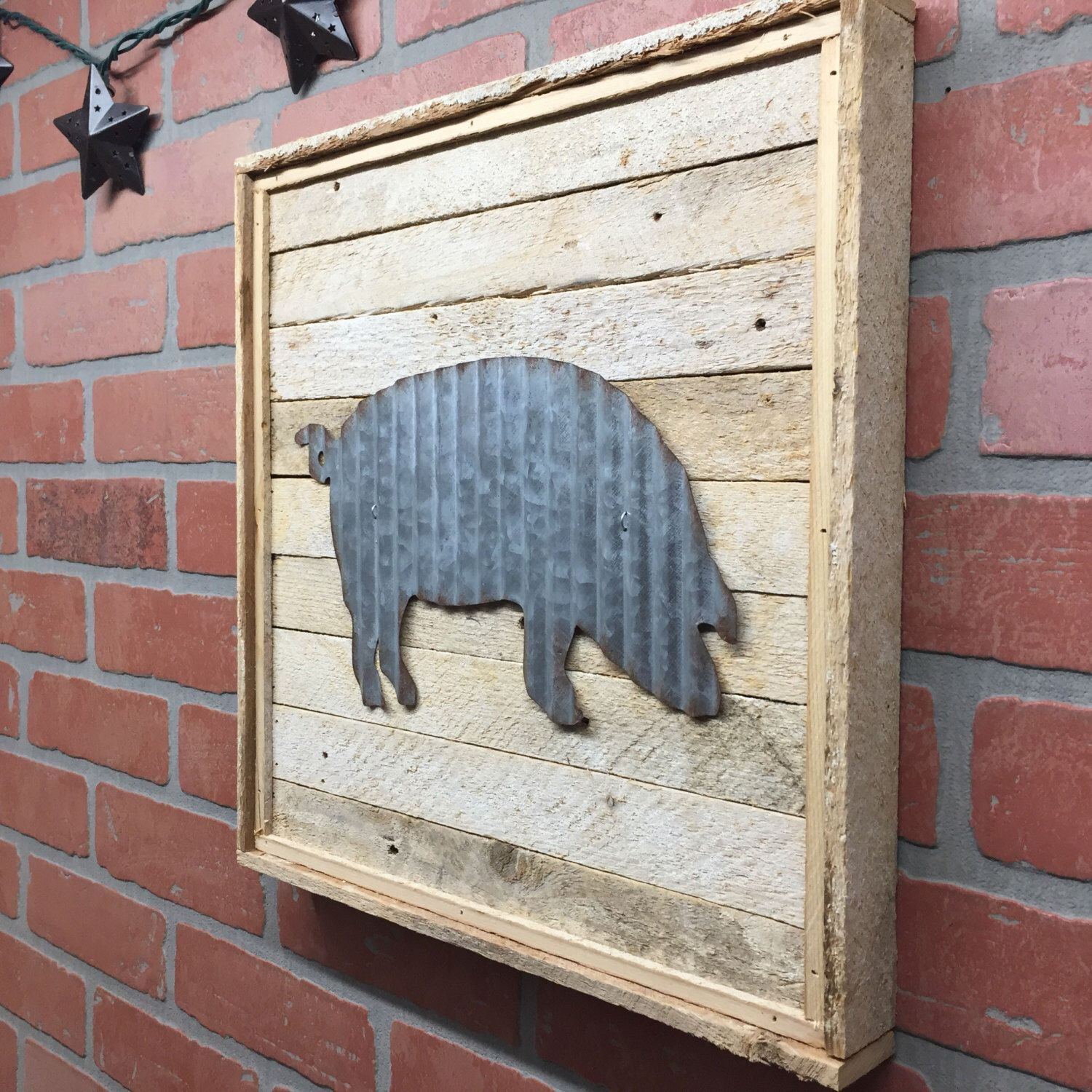 Metal Pig Pig Kitchen decor Farmhouse rustic wall decor by