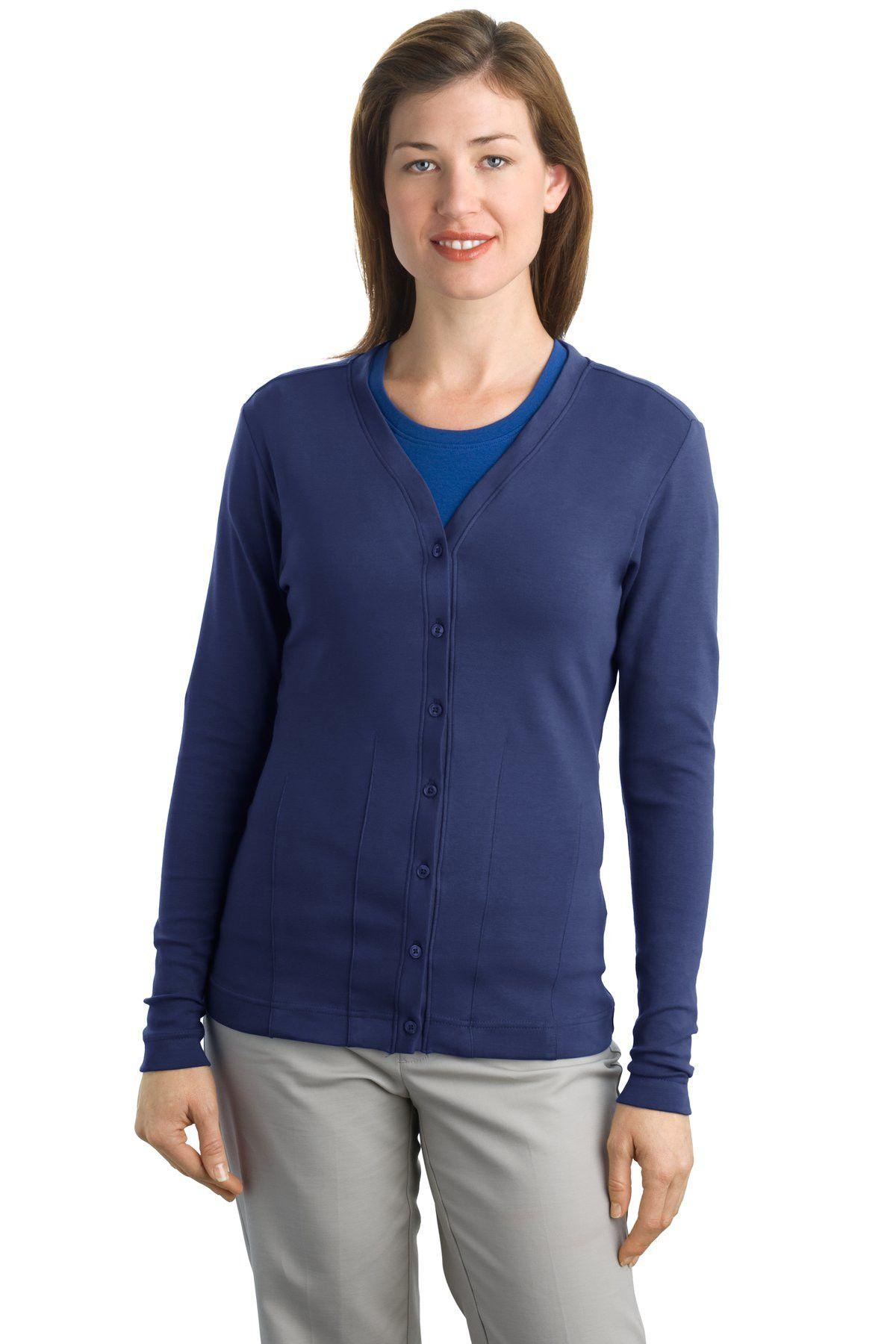 a6b6c5683b Port Authority Ladies Modern Stretch Cotton Cardigan. L515 Sapphire blue