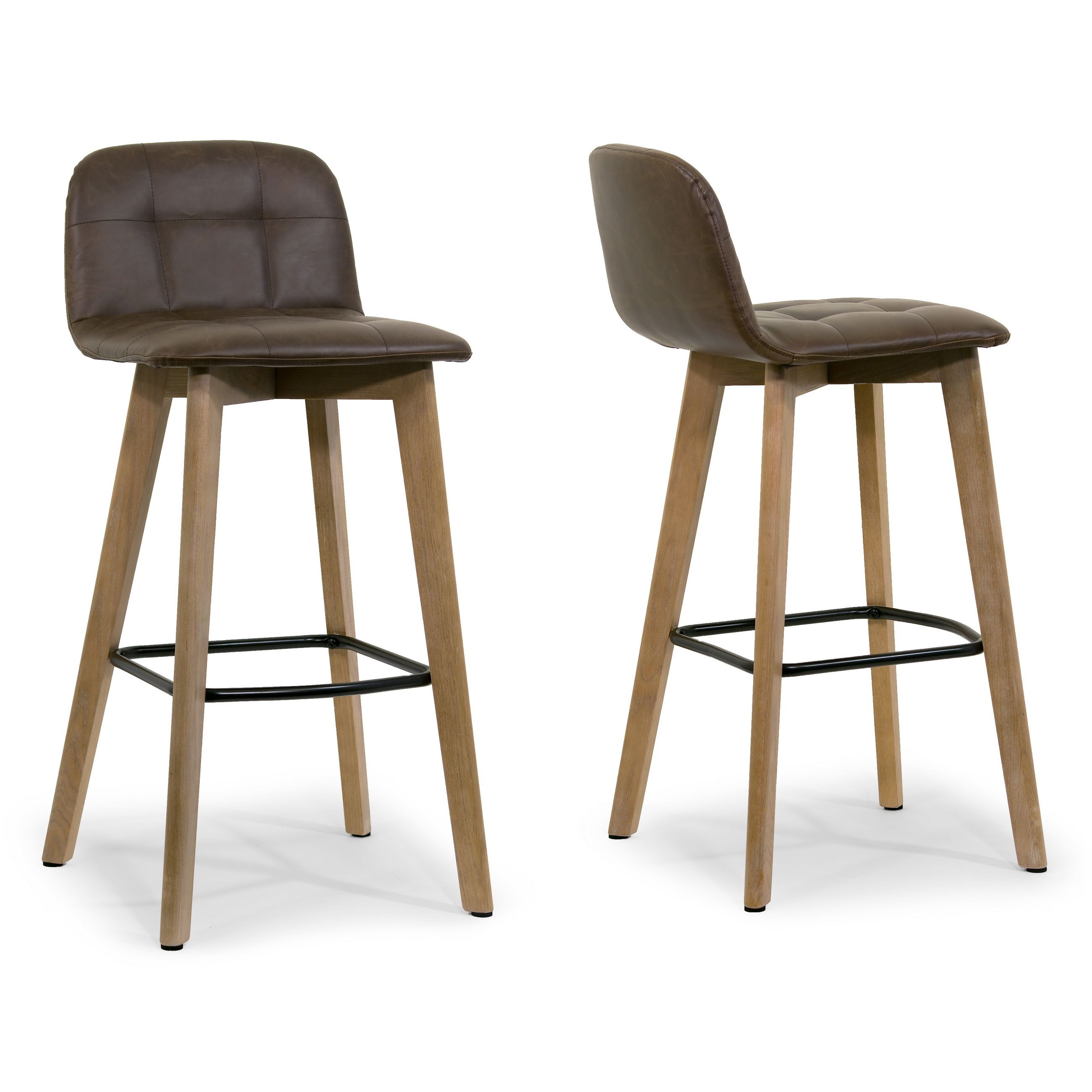 Glamour Aggie Dark Brown Faux Leather and Oak Bar Stool (Set of 2 ...