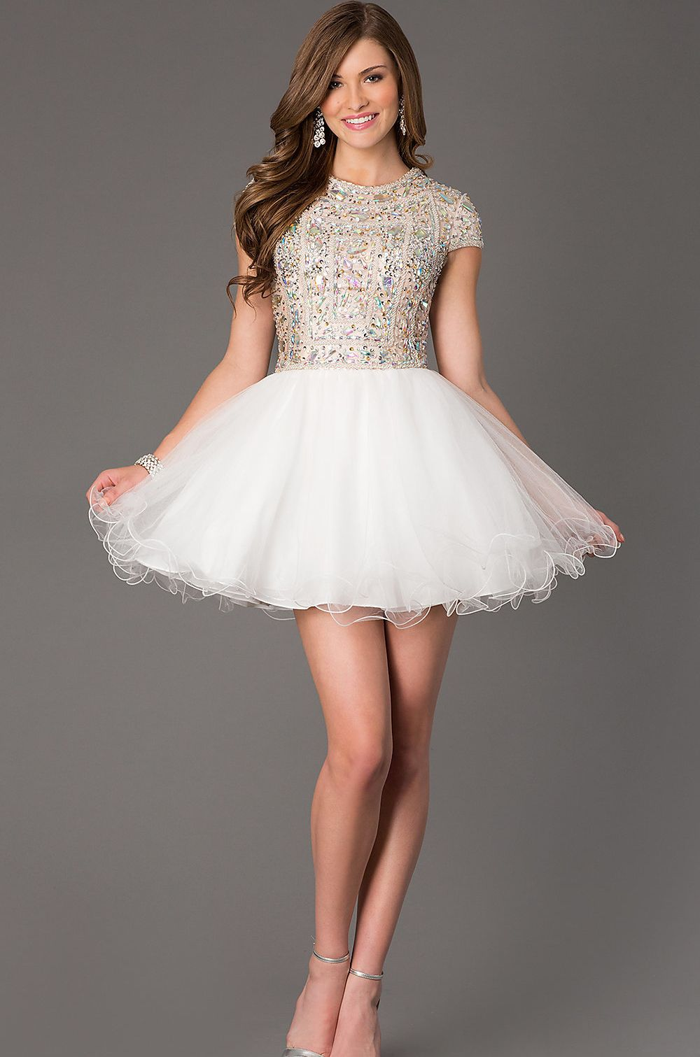 Short tulle fit and flare homecoming dress prom dresses