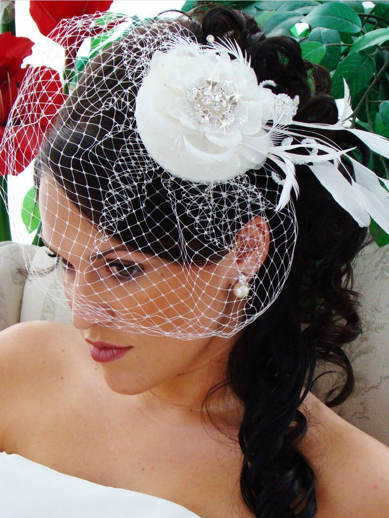 Vintage Look Couture Bridal Hat With Birdcage Wedding Veil Wedding Veil Vintage Bridal Birdcage Veils Bridal Hat