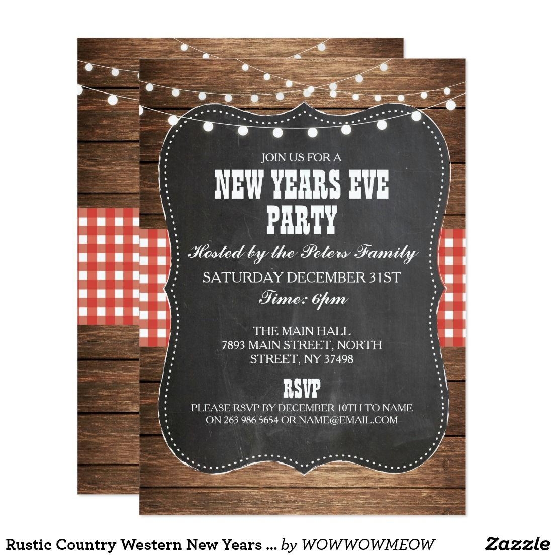 Rustic Country Western New Years Eve Party Invite Zazzle Com Western Christmas Party Invitations Christmas Party Host
