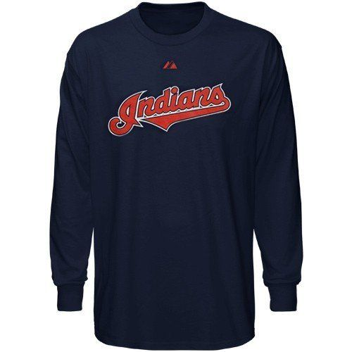 8bb69c01a60 MLB Majestic Cleveland Indians Navy Blue Wordmark Long Sleeve T-shirt by  Majestic.  24.95