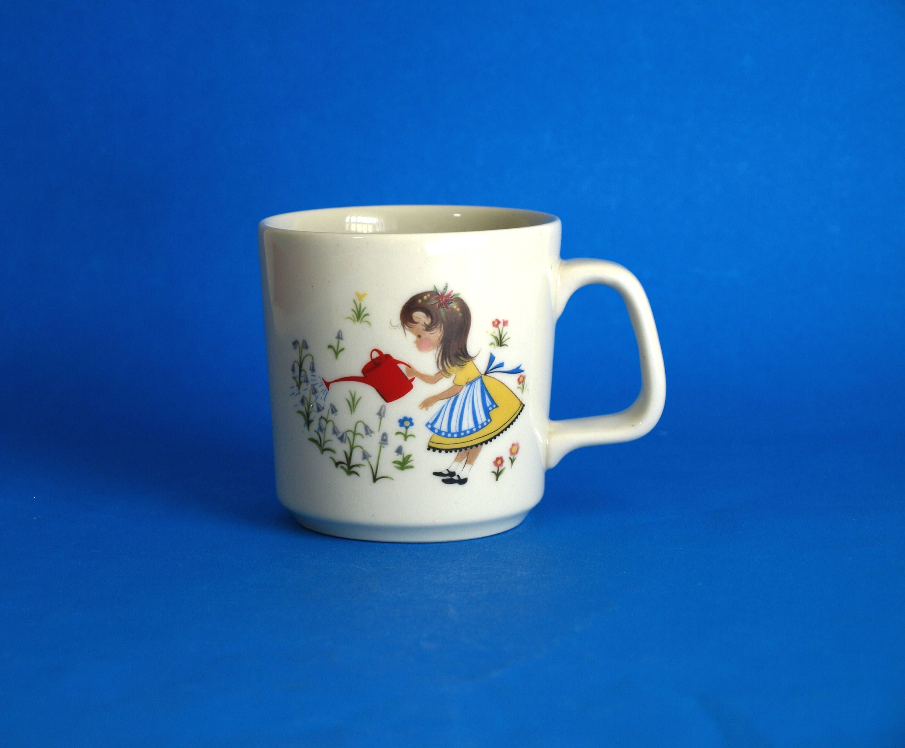Mary Mary Quite Contrary Mug Nursery Rhymes Vintage Retro Bendigo Pottery Children S Cup Made In Australia Mint Childrens Mugs Nursery Crafts Childrens Cup