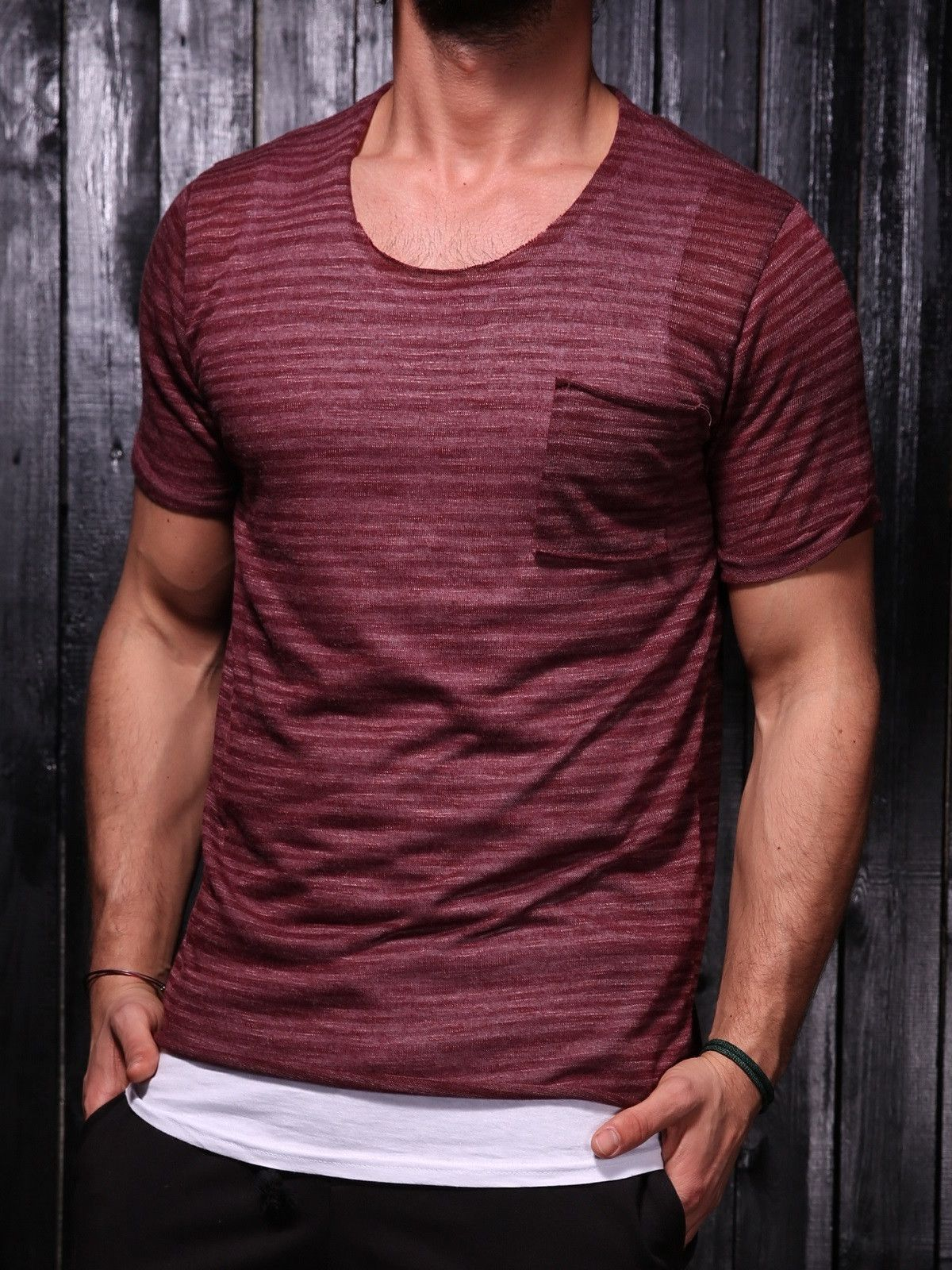 f77eaead5504 K&B Men C Thru Stripes Pocket T-shirt - Burgundy in 2019 | aj | Men ...