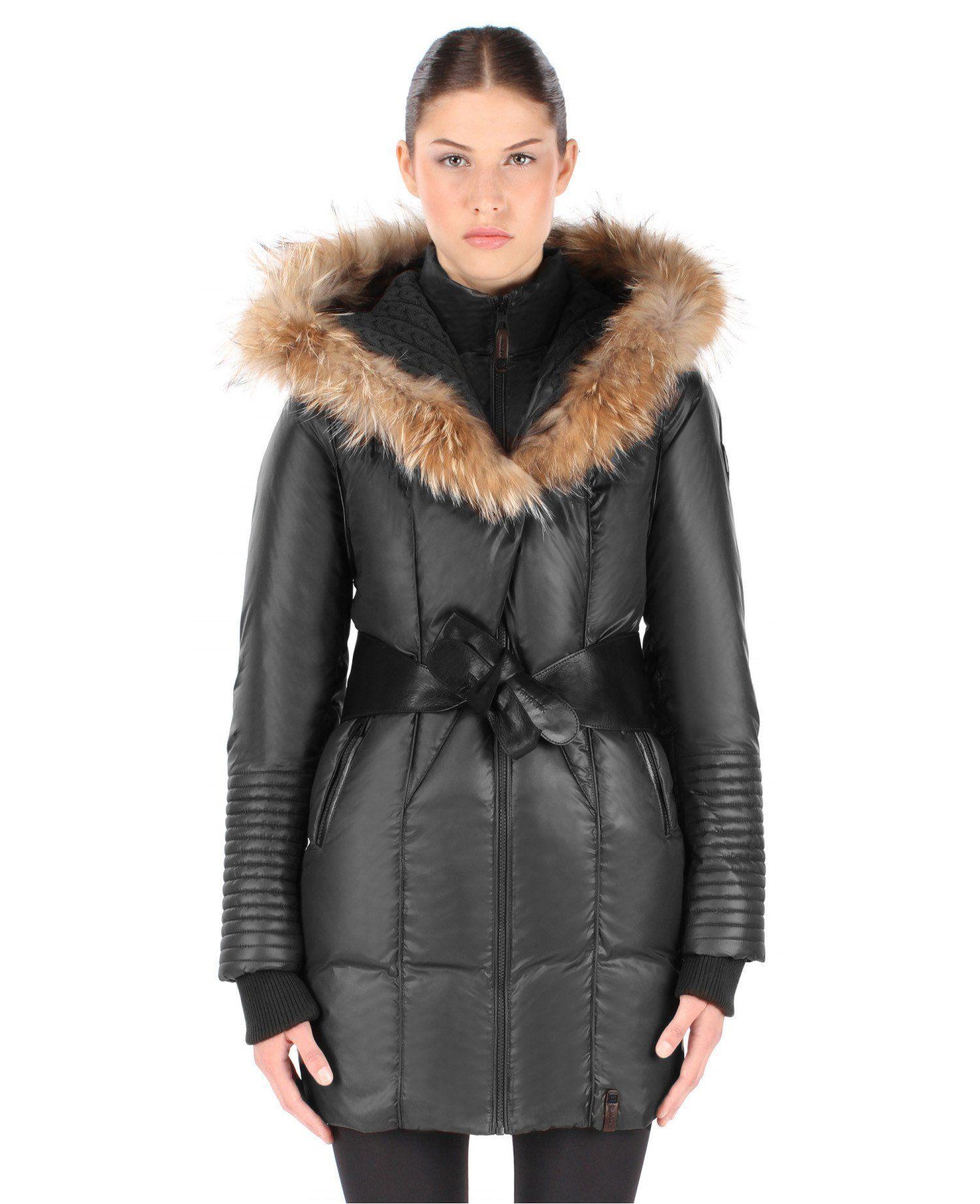 c7b02dd34 RUDSAK Women's Sophie Down Coat with Leather Belt, Black, Medium ...