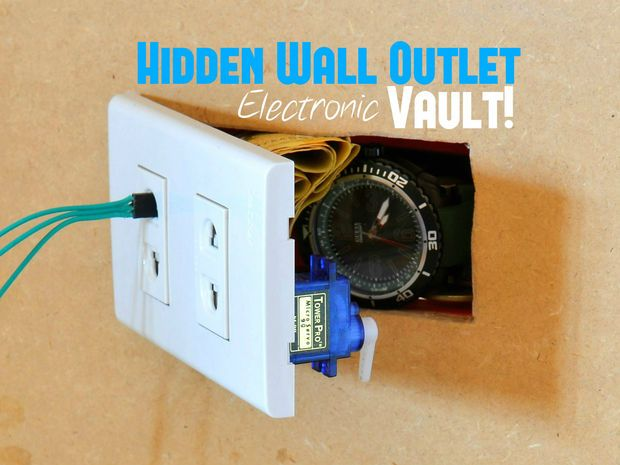 Hidden Wall Outlet Safe (w/Arduino Lock) Wall outlet and