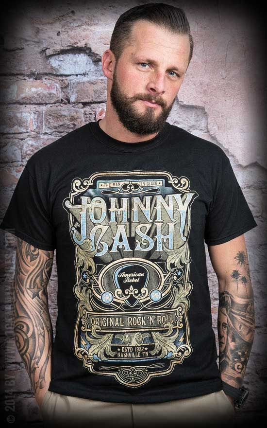 t shirt johnny cash retro typo must have f r jeden rock 39 n 39 roller und rockabilly t shirts. Black Bedroom Furniture Sets. Home Design Ideas