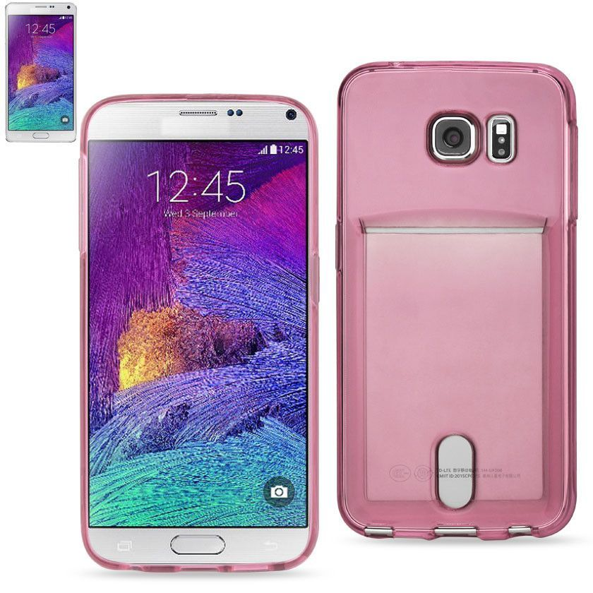 REIKO SAMSUNG GALAXY NOTE 5REIKO SEMI CLEAR CASE WITH CARD HOLDER IN CLEAR HOT PINK