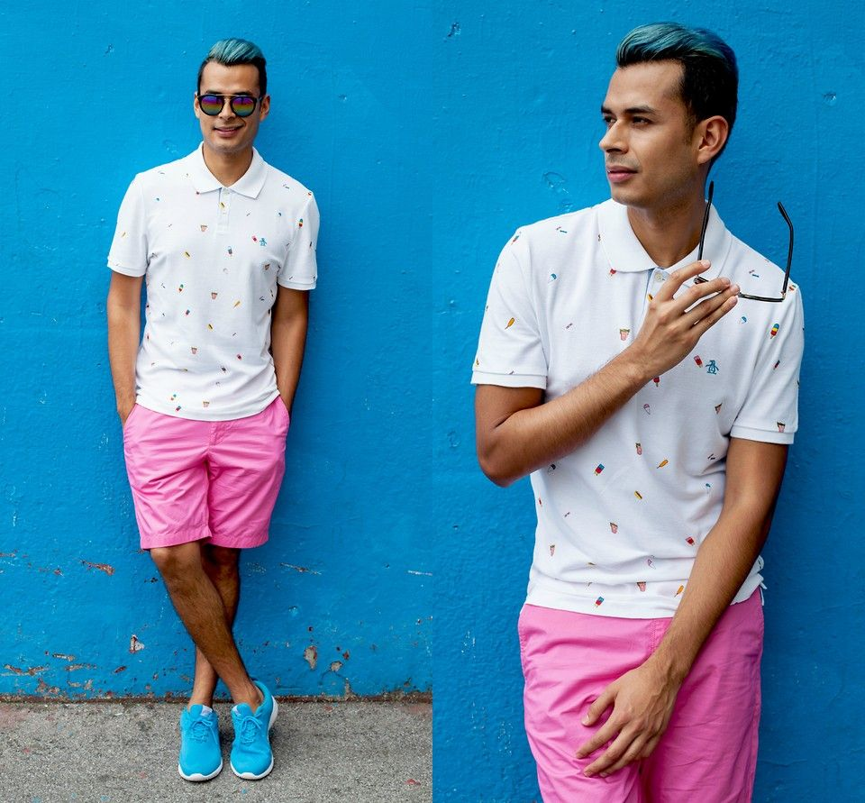 This summer, indulge in something sweet and frosty like ice cream. This tasty dessert is the guilty pleasure print of choice.   http://iammanchic.com/2015/07/08/ice-cream-cones-are-the-new-french-fries/  #manchic #menswear #ootd #lookbook #summer #ss15 #originalpenguin #icecream #coloredhair #merman #bluehair #nyc #streetstyle #menstyle #mensfashion