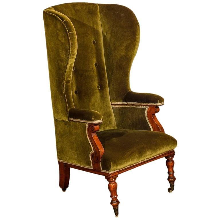 - Antique Wing Back Chair, Victorian, Green Velvet, Circa 1850