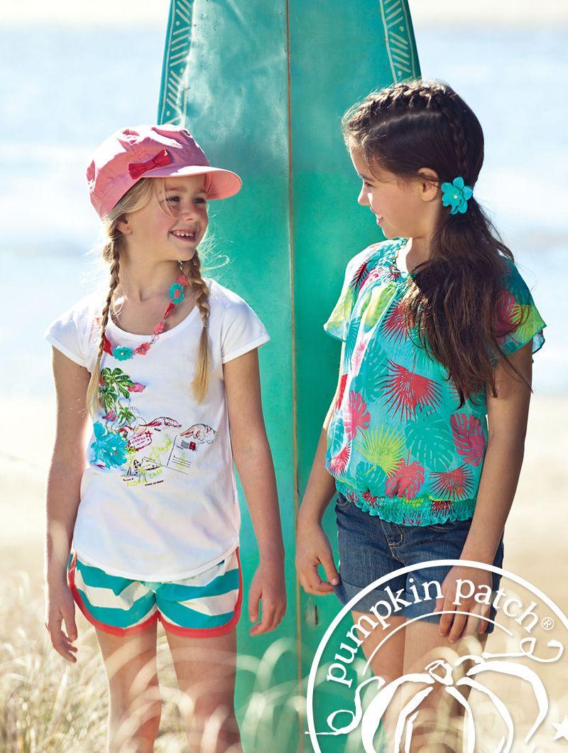bf984955f4 Hawaiian postcard top with striped printed board shorts (left). Shirred  tropical print chiffon top with denim shorts (right). Pumpkin Patch Summer  fashion ...