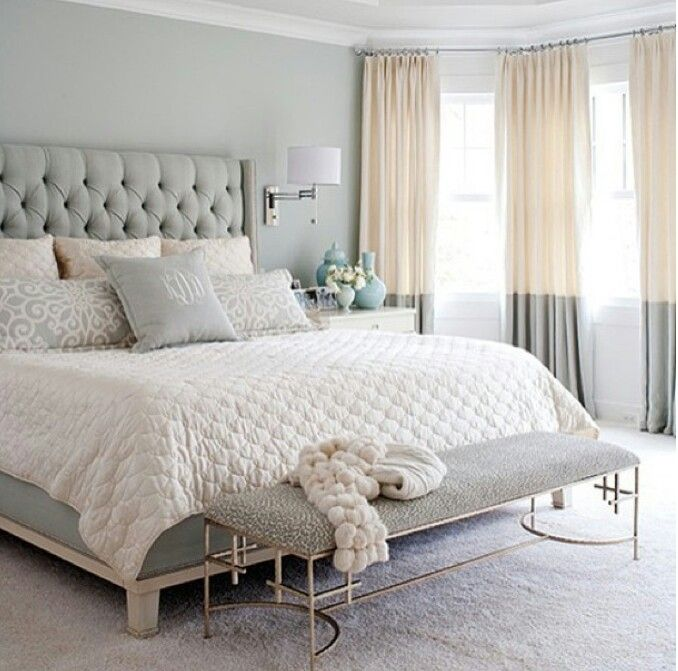 White Bedspread Quilt Gray Blue Seafoam Bedroom With Soft Texture Drum Lamp  Chandelier Gold Foot Stool And White Rug Carpet   Chic Hollywood Hotel  Tufted ...
