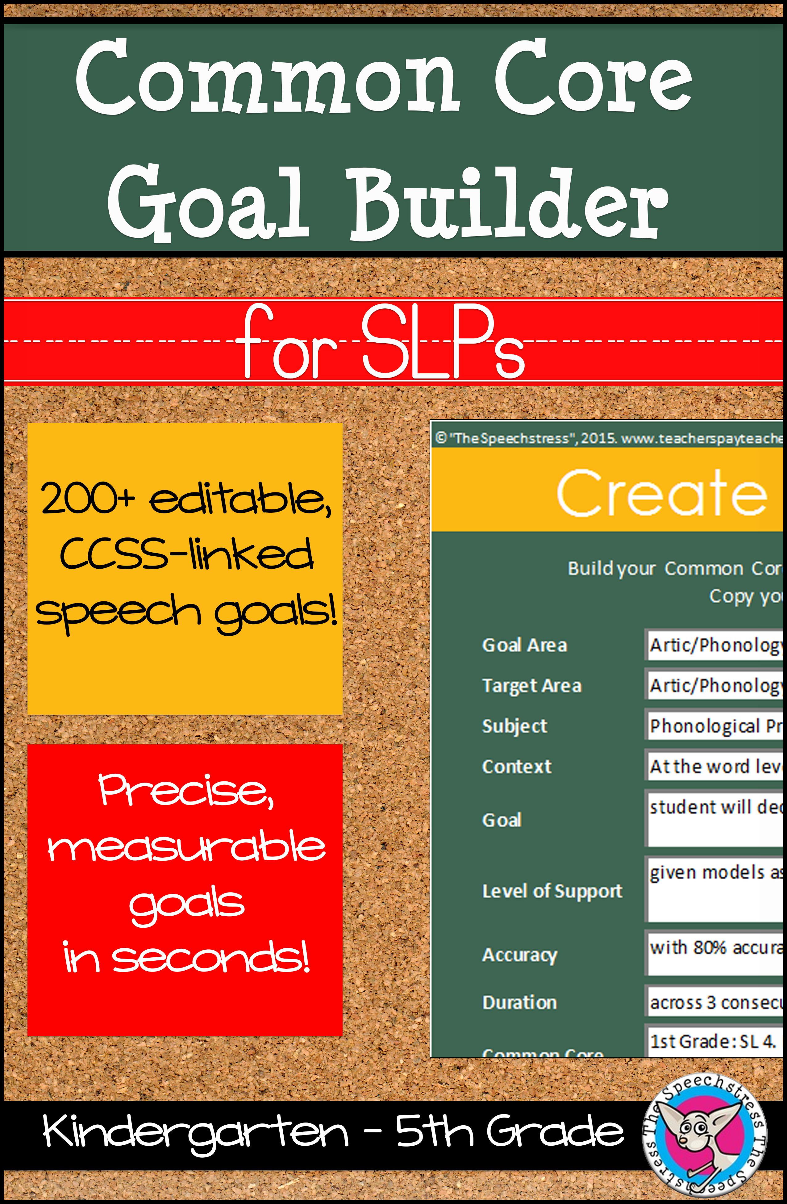 Common Core Goal Builder for SLPs | Núcleos comunes