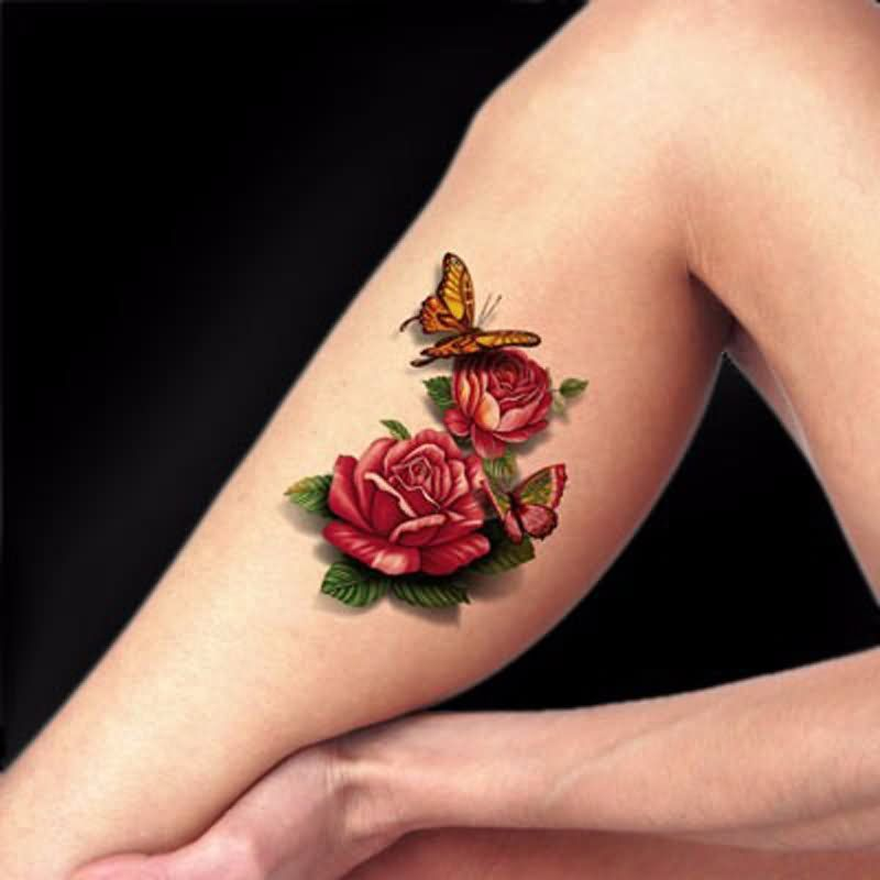 3d Two Rose With Butterfly Tattoo On Leg Calf Best 3d Tattoos