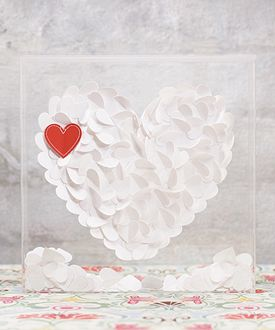From The Heart Transparent Acrylic Shadow Box - paper hearts create heart shape inside the box
