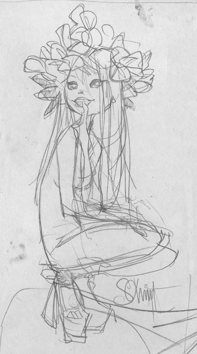 Otto Schmidt Art  Poison Ivy daughter sketch