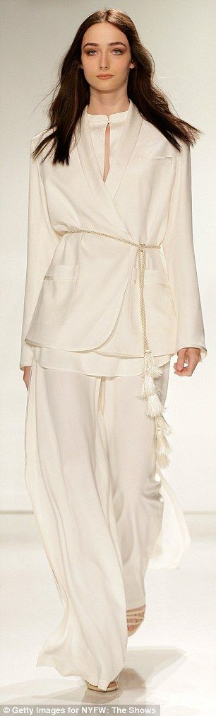 Rachel Zoe's 'modern gypsy'-inspired collection at NYFW #whitepantsuit