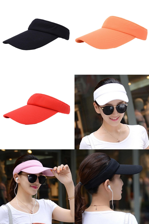 Visit to Buy  Women Outdoor Sports Fashion Adjustable Solid Women Summer  Sun Visor Hat 5e87c860ece6