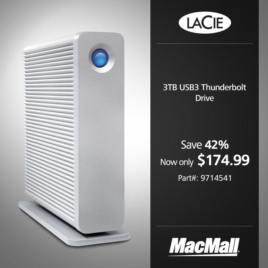 Save 42 On A Lacie 3tb Usb3 Thunderbolt Drive At Macmall Dailydeal Driving External Hard Drive Save