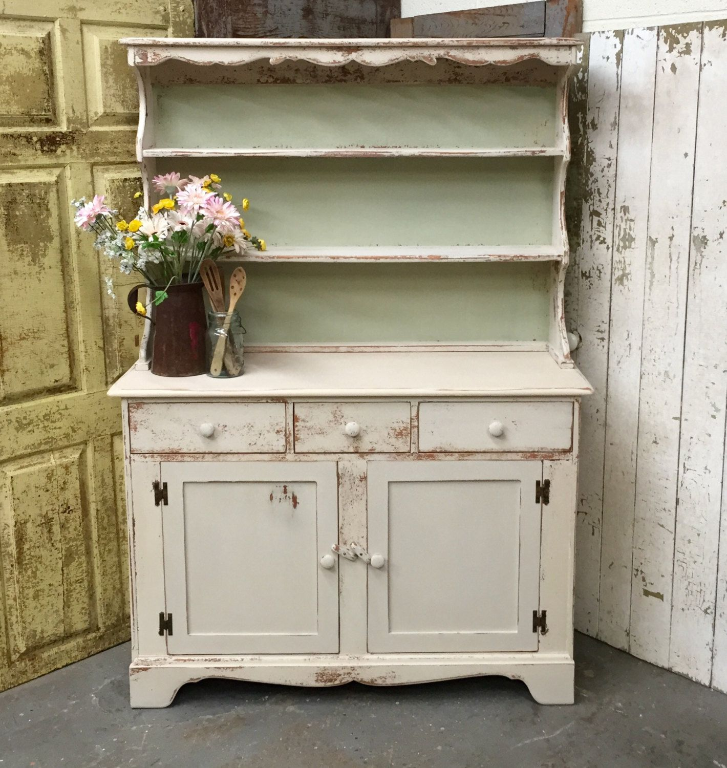 Dining Room Hutch White Kitchen Vintage Cupboard Country Chic Rustic