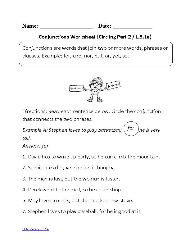 Conjunctions Worksheet 2 ELALiteracyL51a Language Worksheet – Grammar Worksheets for 5th Grade