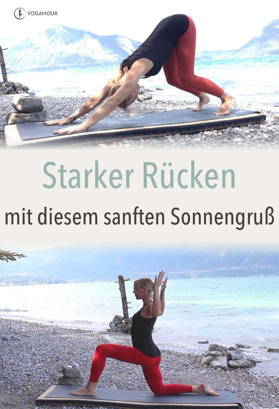Eine kleine Anleitung für einen rücken-freundlichen und rücken-stärkenden Sonnengruß. Eine 7 Minuten langer (kurzer 😀) Yoga-Video-Kurs