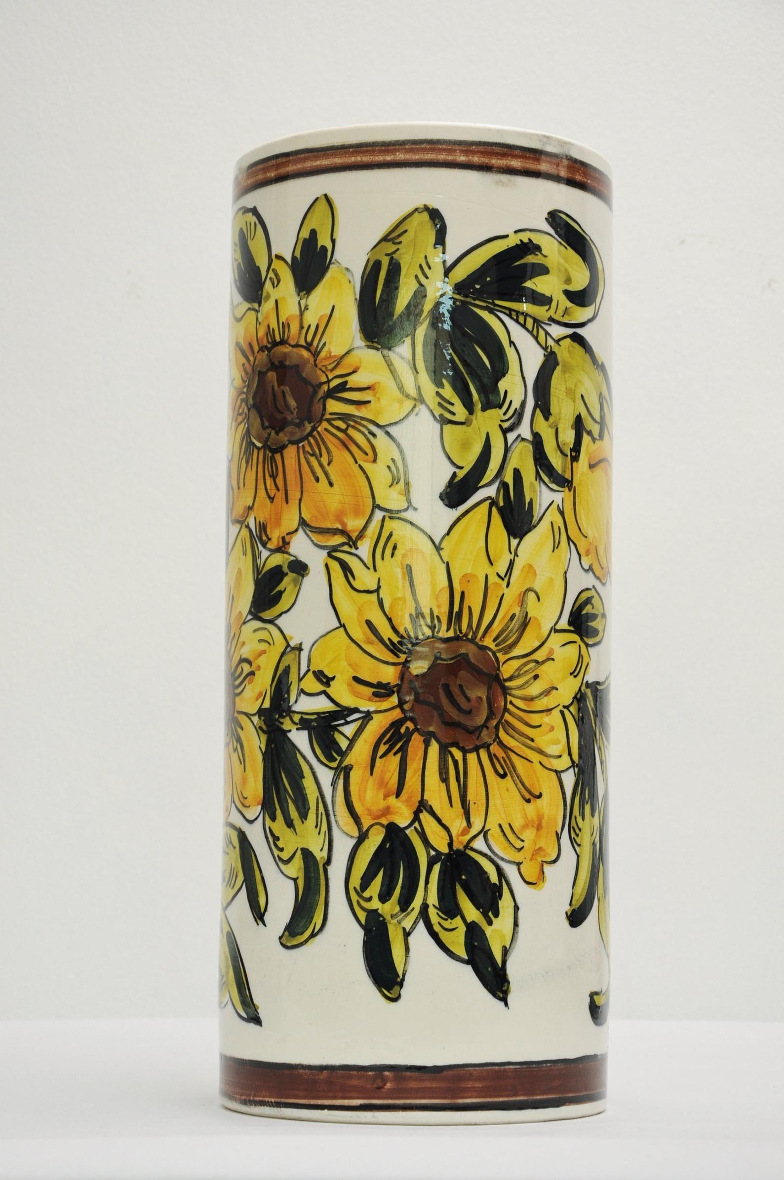 Vtg Spanish Ceramic Umbrella Stand Floral Yellow Flowers Etsy Hand Painted Flowers Umbrella Stand Yellow Flowers