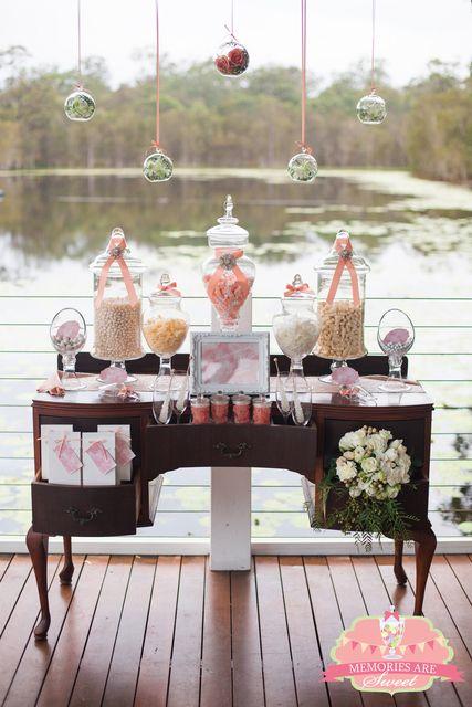 Vintage Peach White Hues Wedding Party Ideas Photo 8 Of 22 Candy Bar Wedding Wedding Candy Vintage Candy Bars
