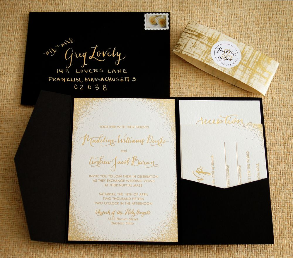 Gold Foil Shimmery Subtle Glitter Wedding Invitation Suite With Enclosure White Black And